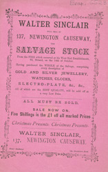 Advert for Walter Sinclair, jewellery seller